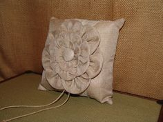 Burlap Lace Flower Design Ring Bearer Pillow, Rustic Vintage Country Wedding