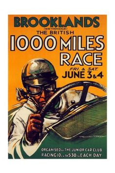 Brooklands 1000 Mile Race Print 1930s - Vintage Motor Sport Posters - Retro Posters iPosters £7.99