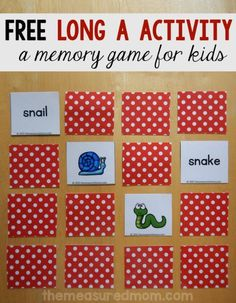 It's a free long a game! Print this set of 24 matching pairs to help your child learn to read and spell the long a words. Phonics Games, Jolly Phonics, Literacy Activities, Phonics Videos, Literacy Centers, First Grade Phonics, First Grade Reading, Learn To Spell, Learn To Read