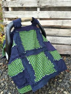 Houndstooth Car Seat Canopy - Green / Navy