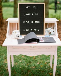 Rustic vintage wedding decor guest book with polaroids Eclectic Jewel-Toned Backyard Wedding Perfect Wedding, Dream Wedding, Wedding Day, Low Key Wedding, Wedding Book, Polaroid Wedding Guest Book, Wedding Vintage, Laid Back Wedding, Wedding Things