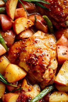 Honey Mustard Chicken & Potatoes | http://cafedelites.com