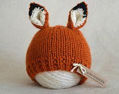 Newborn Fox Hat - Fox Photo Prop - Baby Fox Hat - Newborn - Ready to Ship Baby Hats Knitting, Knitting For Kids, Knitting Projects, Crochet Projects, Knitted Hats, Cute Crochet, Crochet Baby, Knit Crochet, Knitting Patterns