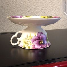 """Tea Cup & Saucer made into a """"Cup Cake Stand"""" side view @Tina Blankenship"""