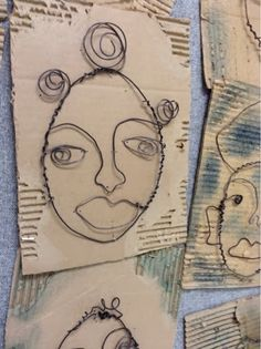 Art at Becker Middle School: Completed Wire Portraits contour, self portrait ideas art, middle school, wire portrait, portrait art, self portraits, middl school