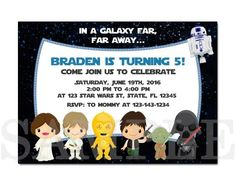 PB0005 STAR WARS PRINTABLE BIRTHDAY PARTY INVITATION CARDS the Star Wars The force awakens