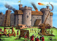 knight and castle kids drawing | castles | building a castle | castle Life | attack and defence ...