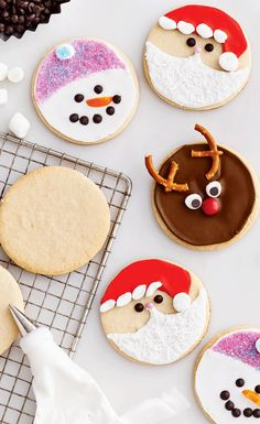 These fun holiday character cookies are a great afternoon project for you and the kids. | Image: Canadian Living | Holiday Baking 2014 | #Holiday #Santa #Reindeer #Snowman #Cookies #Entertaining #Christmas #TestedTillPerfect