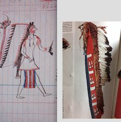 Crow bear bonnet, Denver Art Museum, and a page from the Red Hawk ledger (Sioux) showing the same or a similar bonnet  ac