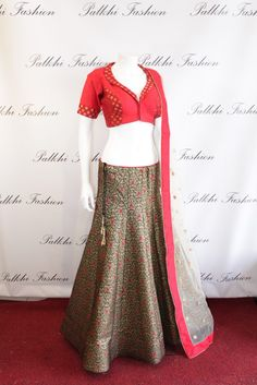 Palkhi Fashion Full flair black and red fusion lehenga.