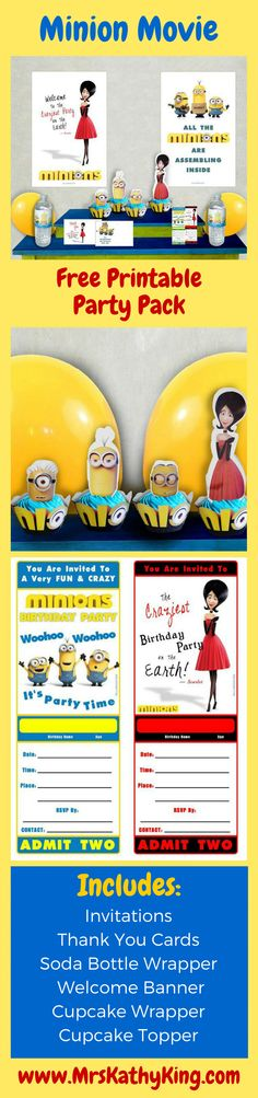 Are you planning a Minion Movie theme party? Our Minion Movie Party Pack is completely free and will help you host the perfect party. It includes Invitations Thank You Cards Water Bottle Wrapper Cupcake Wrapper Cupcake Topper Welcome Signs