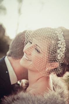 A Birdcage Veil can add a vintage feel & bring attention to the brides face I mention a birdcage veil and Connie says 'oh, with a tiara!' ...I think this princess wants a Tiara!