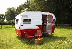 Red & white travel trailer!