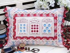 """""""Vintage Buttons"""" by Sally Giblin of The Rivendale Collection. #TheRivendaleCollection stitchery, appliqué and patchwork patterns. www.therivendalecollection.com.au"""