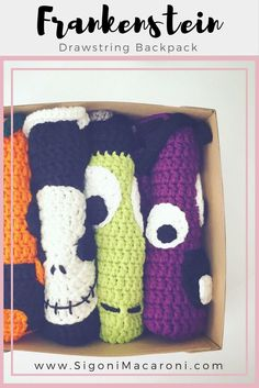 FREE Crochet Patter for a Frankenstein Drawstring Backpack. This would be perfect for trick or treating this Halloween!