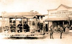 Horse-drawn streetcar in front of J. Stephens' store in Fort Meade, Florida Vintage Florida, Old Florida, State Of Florida, Fort Meade, Modern Store, Lakeland Florida, Horse Drawn, Historical Images, Photo Archive