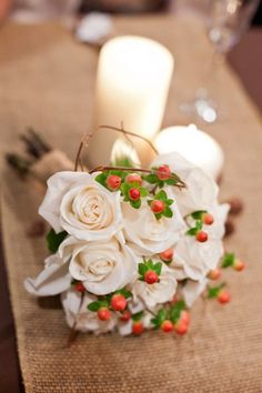 All white with berries--maybe sub mini grapes for the berries?     Fall Flower Bouquets, Wedding Flowers Photos by Evin Photography, LLC