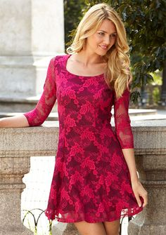 Vicki Lace Fit-and-Flare Dress