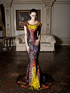 The Princess of Couturia loved to wear the wardrobe that her very own Couturier Lloyd Klein would design for her - she especially loved color and nature and this long gown inspired by the Bird of Paradise was her favorite - especially because no Couturian in all of FashionLand could see that she was barefoot.  Photo- Robert Voltaire, Model - Alex Abercrombie, Fashion by Lloyd Klein