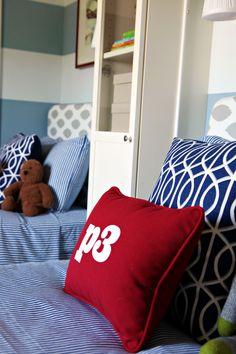 IHeart Organizing: Boy's Bedroom Upholstered Headboards