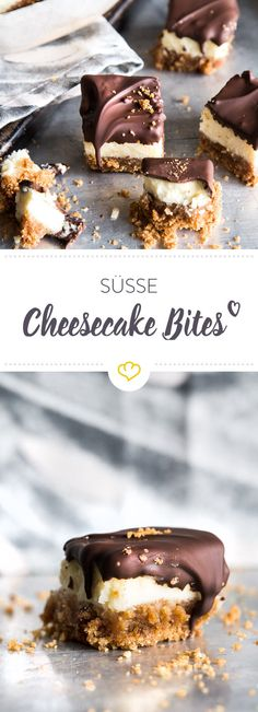 Small but powerful: juicy cheesecake bites with chocolate icing- Klein, aber oho: Saftige Cheesecake Bites mit Schokoglasur Creamy cheesecake delicacies on a crispy biscuit base and with a dark chocolate topping. Heart Healthy Desserts, Healthy Dessert Recipes, Snack Recipes, Snacks, Cheesecake Bites, Cheesecake Recipes, Cookie Recipes, Biscuits, Chocolate Topping