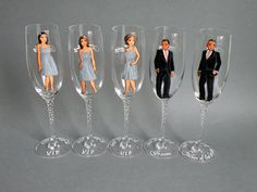 Bridal Party Wine or champagne Glasses Bridesmaids by pastinshs