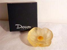 Daum France Art Glass Flower Mini Bowl FrostedGolden Yellow Original Box