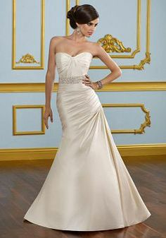 Great Zipper up Fit N Flare Satin Sweetheart Court Train Wedding Gowns