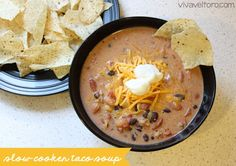Need some new dinner ideas?  Try this Slow Cooker Taco Soup Freezer Dinner Recipe!  #crockpot