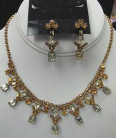 Vintage GF Sterling Jaykel Set Yellow Amber Rhinestone Necklace Earrings