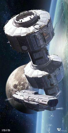 Ideas For Science Fiction World Cyberpunk Spaceship Art, Spaceship Design, Space Fantasy, Fantasy Art, Concept Ships, Concept Art, Art Science Fiction, Science Space, Science Art