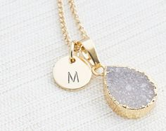 Gold Initial Necklace & Grey Druzy Gem, Druzy Necklace, Personalised Jewellery, Bridesmaid Necklace, Personalised Gift