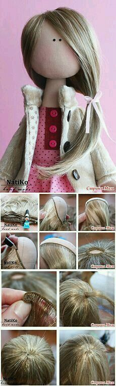attaching doll hair