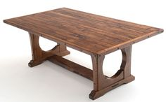 This hardwood dining table from our Bungalow collection features a unique trestle base. This design features a strong base with a floor level trestle and circular legs that makes the base rock-solid. Done in butternut wood which has been called white walnut for many years, this table conveys the feeling of our northern states. Butternuts