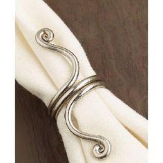 Set of 4 Elegant Twists Brushed Silver Napkin Rings 4