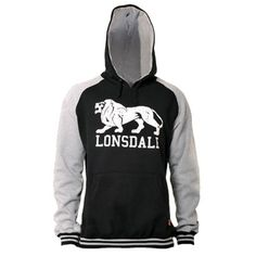LONSDALE Hooded Sweatshirt STOCKFORT Black/Grey  LO111113NE  Available at Runnin Riot Mailorder  www.runnin-riot.com