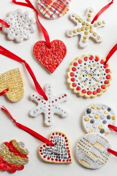 Salt dough can be transformed into fun, festive ornaments like these with cookie cutters and a little paint and glitter. Get the tutorial at Wholefully.