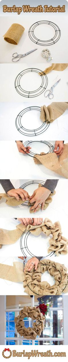 """How to make a burlap wreath: Check out this easy to use tutorial showing you how to make a burlap wreath in less than 10 minutes. All you need is a wreath frame, feet of burlap ribbon and some wire. DIY burlap wreaths make a great craft project. Burlap Projects, Burlap Crafts, Wreath Crafts, Diy Wreath, Burlap Wreaths, Craft Projects, Mesh Wreaths, Wreath Ideas, Wreath Making"