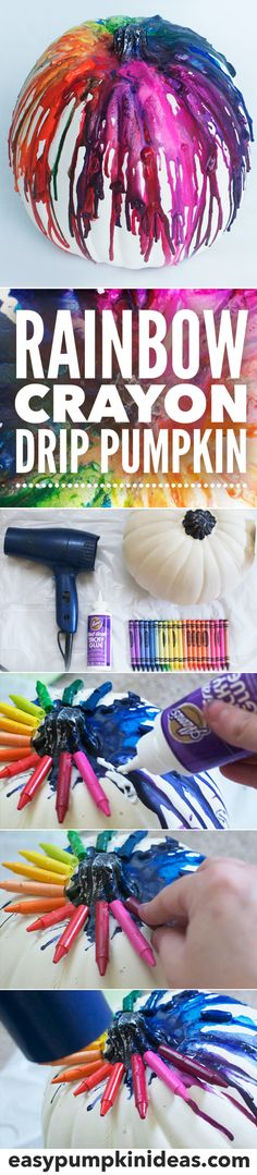 Make the ultimate rainbow pumpkin to decorate for Halloween using crayons and a hair dryer! This is taking the melted crayon art canvas trend to the next level and onto a pumpkin.