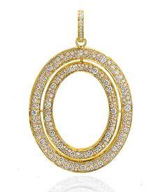 Ivanka Trump signature oval pendant in 18k yellow gold with diamonds
