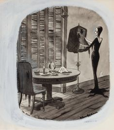 CHARLES ADDAMS - Morticia, Addams covering bat cage - item by fineart.ha