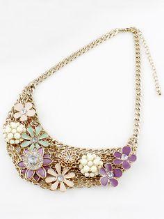 Collar dorado cadenas flores con multipiedras EUR7.19