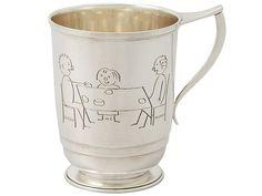 Sterling Silver Christening Mug - Art Deco Style - Antique George VI SKU: W8082 Price GBP £595.00 http://www.acsilver.co.uk/shop/pc/Sterling-Silver-Christening-Mug-Art-Deco-Style-Antique-George-VI-65p5874.htm#.VjoIbys8rfc