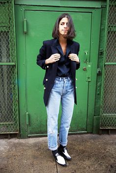 Do like Man Repeller blogger Leandra Medine and wear mom jeans this Thanksgiving. Modernize them with a sleek jacket.