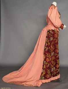Historical Dress — PRINTED CUT VELVET BUSTLE DRESS, 1890s Pink silk...
