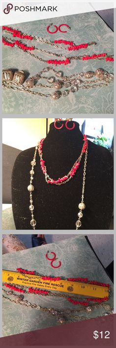 Vintage bundle necklace & earrings Vintage bundle 2 necklaces very long & 2 pairs of pierced earrings, no hallmark on any Vintage Jewelry