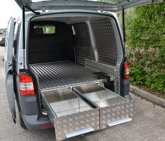 Rear Floor Drawers built into VW Transporter Van Van Storage, Camper Storage, Vw T5 Interior, Vw Transporter Van, Van Organization, Pool Diy, Accessoires 4x4, Car Wash Business, Van Racking