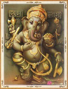 Dancing Ganesha (Reprint on Paper - Unframed) Om Gam Ganapataye Namaha, Dancing Ganesha, Ganesh Tattoo, Zen, Shree Ganesh, Ganesha Painting, Krishna Wallpaper, Lord Ganesha, Hindu Art