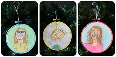 Kids' self portrait ornaments