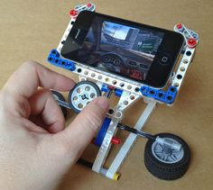 Phone Racer—LEGO iPhone Gaming Stand Pretty neat way to play games while using LEGO.